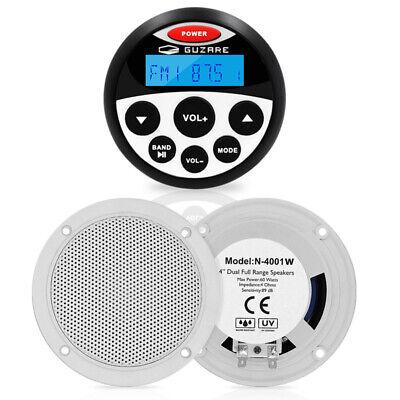 Marine Bluetooth Sound System Receiver FM AM Radio Kit og 4 '' bådhøjttalere
