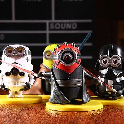 4pc Minions x Star Wars Mini Figures Set Stormtrooper Darth Maul Vader Skywalker