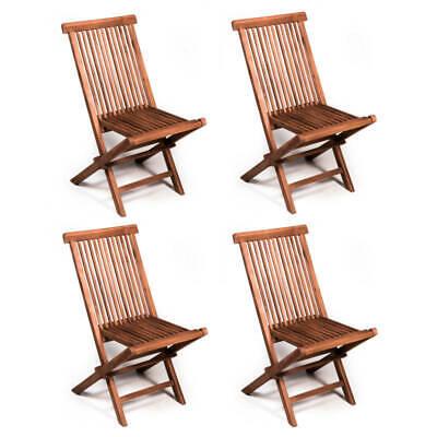 Set 4 sedie pieghevoli da giardino in legno teak per tavolo da esterno