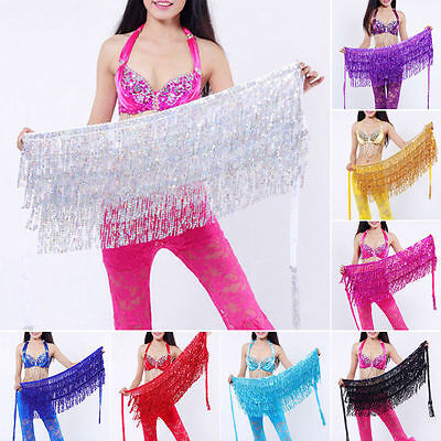 Belly Dancer Sequin Fringe Hip Scarf Skirt Bollywood Halloween Festival Costume - Belly Dancer Halloween Costume