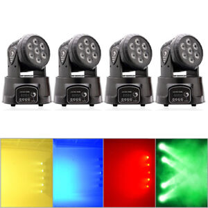 4PCS 105W RGBW 7-LED Wash Moving Head Light DMX Stage Lighting DJ Party Lights