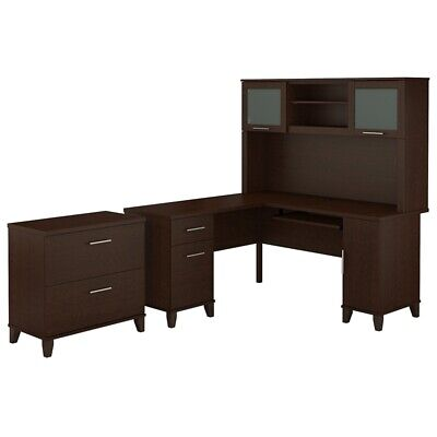 Somerset 60W L Shaped Desk with Hutch and File Cabinet in Mocha - Metallic Set Hutch