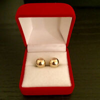 Authentic Genuine 10K Yellow Gold 8mm Bead Earrings with Box