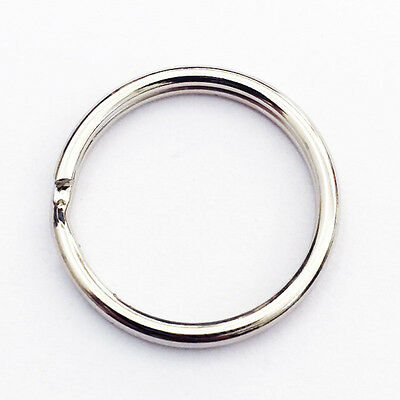 "100 PCS 25mm 1"" inch Diameter Split Nickel Plated Keyring Keychain Key Rings"