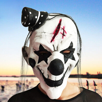 Scary Clown Halloween Outfit (White Clown Face Mask Scary Joker Halloween Creepy Horror Party Outfit)