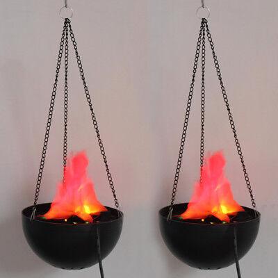 2X LED Hanging Fake Flame Lamp Torch Light Fire Pot Bowl Halloween Prop Decor US (Hanging Flame Light)