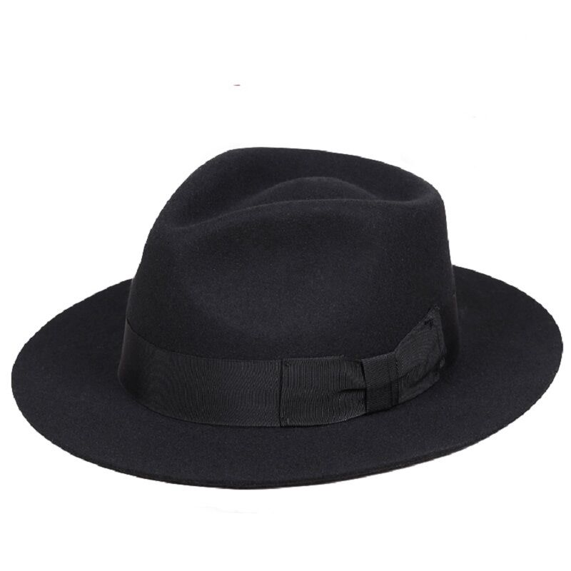 f1135f4b733 Classic Men s Wool Felt Fedora Hat Gangsters Traditional Godfather Mafia Cap