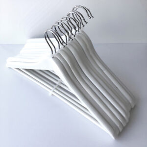 CLOTHING HANGERS (10 pieces) / white, wooden *LIKE NEW*