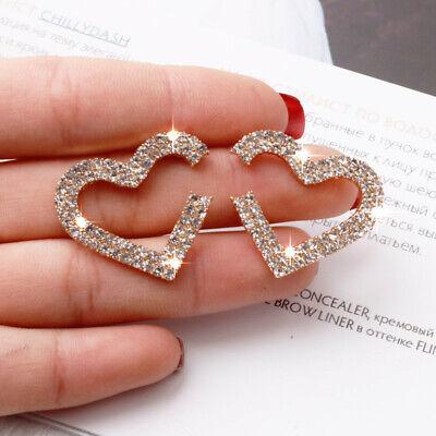 Luxury Geometric Crystal Rhinestone Heart Earrings Ear Stud Hoop Women Jewelry