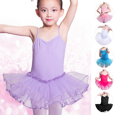 Mädchen Tutu Ballett Trikot Kinder Ballerina Fee Gymnastik Kostüm Tanzkleid