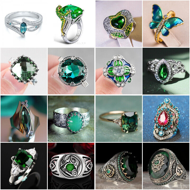 Pretty Women Jewelry Emerald 925 Silver Ring Wedding Engagement Rings Size 6-10