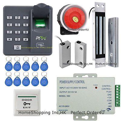 ZKTeco Fingerprint + RFID Card Door Access Control System + Door Sensor + Siren
