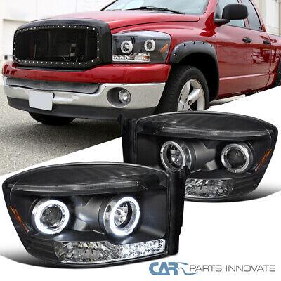 For 06-09 Dodge Ram 1500 2500 3500 Black Halo Projector Headlights Head Lamps