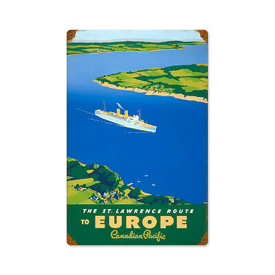 Vintage Style Retro St Lawrence Route Europe Ship Steel Sign 12 x18