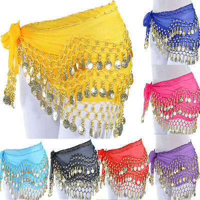 Belly Dance Dancing Hip Skirt Scarf Wrap Belt costume with 3 Rows Gold Coins USA - Belly Dance Costume