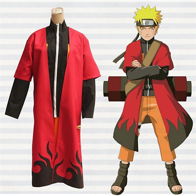Anime Naruto ナルトUzumaki Cosplay Costume Sage Red Cloak S-XXL Adult Japan Clothes, used for sale  Shipping to Canada