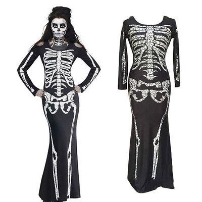 Women Halloween Ghost Festival Horror Skeleton Costume Party Slim Long - Skeleton Halloween Dress