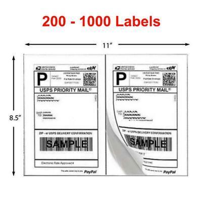 200-1000 Shipping Labels 8.5x5.5 Half Sheets Blank 2 Label Sheet Self Adhesive