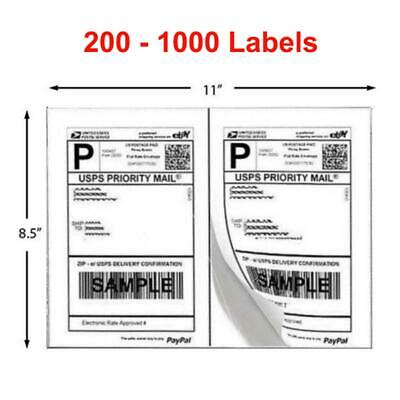 200-1000 Shipping Labels 8.5x5.5 Half Sheets Blank 2 Label /
