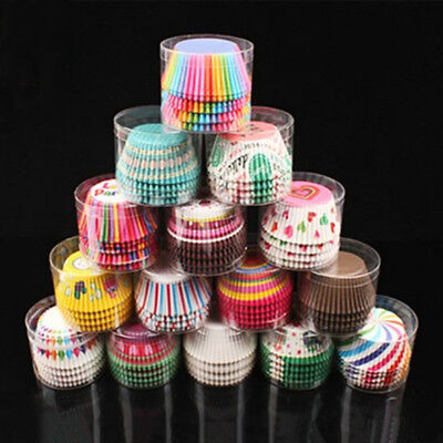 100 X Paper Cupcake Cup Rainbow Muffin Baking Cups Liners Cupcakes Case Bakeware (Cupcake Papers)