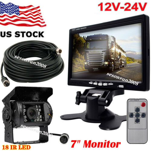 """4Pin IR Rear View Camer w/ 7"""" HD Car Monitor Restversing System for Truck Bus RV"""