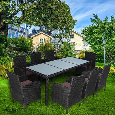 Poly Rattan Sitzgruppe Sitzgarnitur Gartenmöbel Gartenset Stapelbar Garnitur 8+1