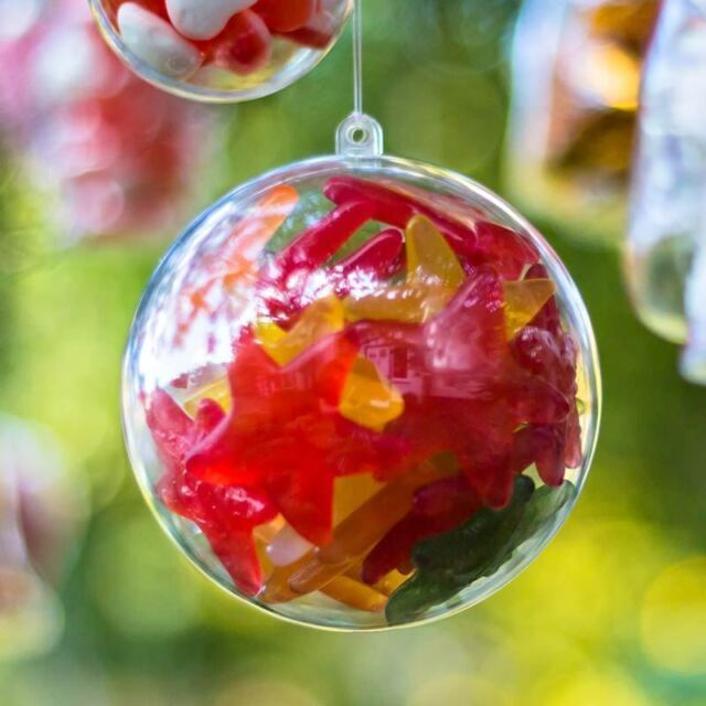X5 Baubles Christmas Decorations 120mm Fillable Empty Clear ...
