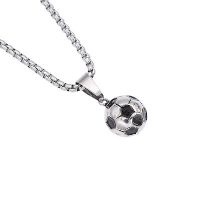 3D Football Soccer Pendant Necklace Stainless Steel Mens Sports Jewelry Silver