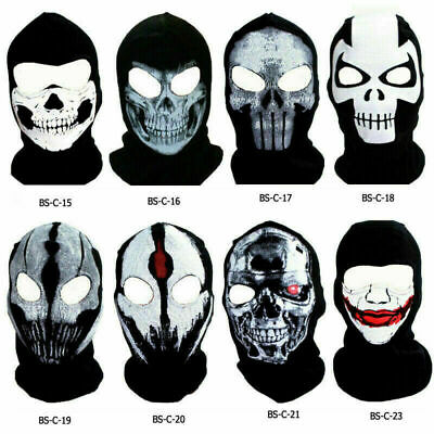 Ghost Skull Thermal Balaclava Full Face Mask Cover Motorcycle Motorbike Ski Hood