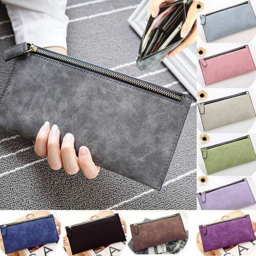 PU Leather Card Holder Long Clutch Zip Wallet Phone Case Handbag Purse For Women