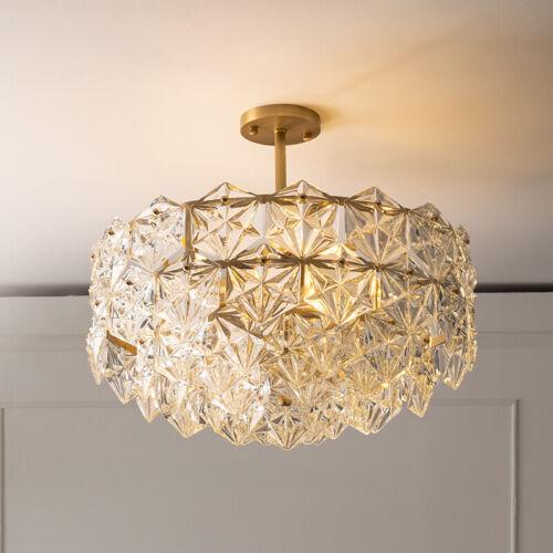 Modern K9 Crystal Chandelier Lighting Flush Mount Led Ceiling Light Fixture Ebay