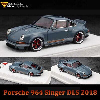 MAKE UP 1:43 Scale Porsche 964 Singer DLS 2018 Gray Car Model Collection W/ Case