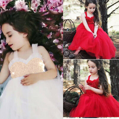 Flower Girl Pageant Party Formal Wedding Bridesmaid Princess Tutu Dress for Kids