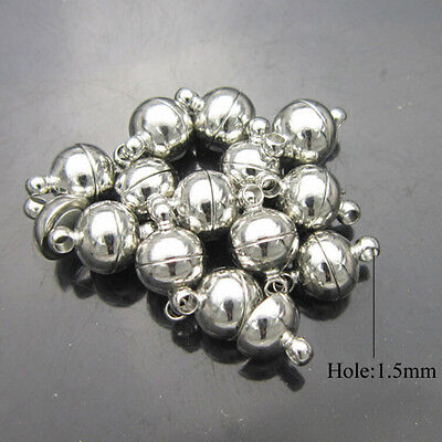 10 Sets Silver/Gold Plated Round Ball Magnetic Clasps6/8mm For Jewelry MakiBICA