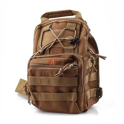 Tan Molle Tactical Sling Chest Assault Pack Messenger Shoulder Bag Backpack