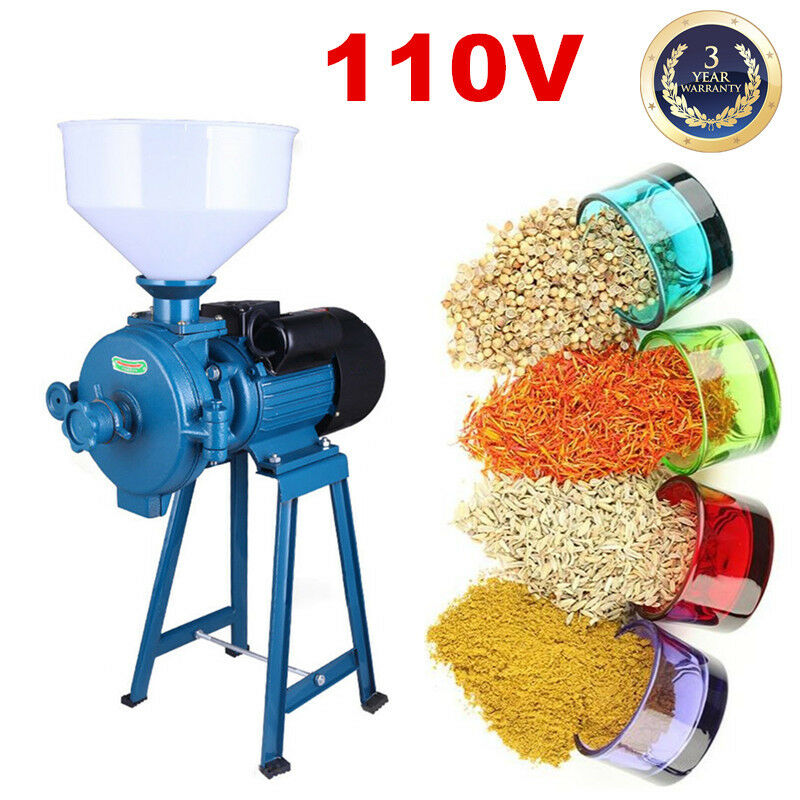 110V Commercial Electric Cereals Mill Grinder Machine+Funnel 1500W 1400r/min USA