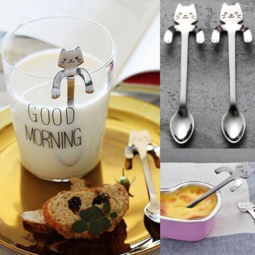 Cute Stainless Steel Cat Coffee Drink Spoon Tableware Kitchen Tools Hanging cups