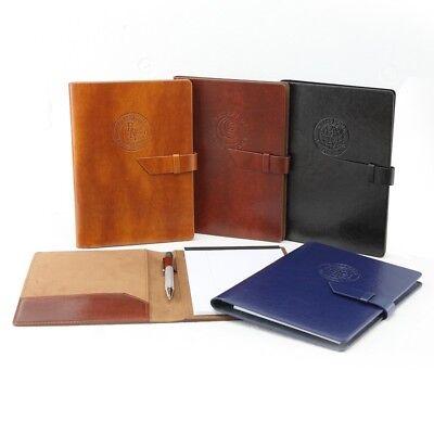 Black Italian Leather Portfolio - Junior Padfolio Portfolio Organizer Italian PU Leather: TAN BROWN BLUE OR BLACK