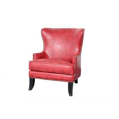 Barrow High Back Wingback Leather Accent Chair with Nailhead - Red ()