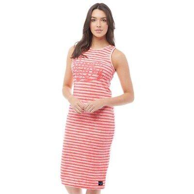 Superdry Womens Lagoon Logo Midi Dress Fluro Coral Palm Stripe - Size XS - UK 8