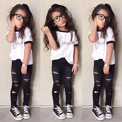 Summer Legging Outfits (US Baby Girls Summer T-shirt Tops+Long Pants Leggings 2pcs Outfits Clothes)