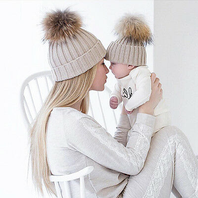 Warm Winter Mom&Newborn Baby Boy Girl Hats Crochet Knit Hairball Beanie Cup