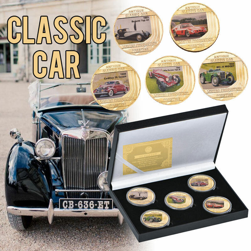 WR 5pcs Classic Car Antique Gold Commemorative Coin For Collection In Gift Box