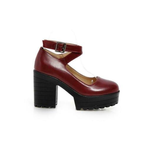 Womens Round Toe Block High Heel Platform Mary Jane Casual Party Shoes Plus size