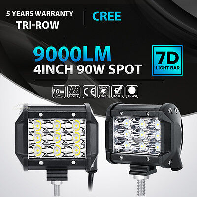 "2X Tri-Row 90W 4""INCH Led Work Light Bar SPOT Offroad 4WD AT"