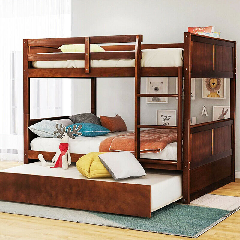 Solid Wood Bunk Bed Frame Full Over Full Bed with Twin Trund