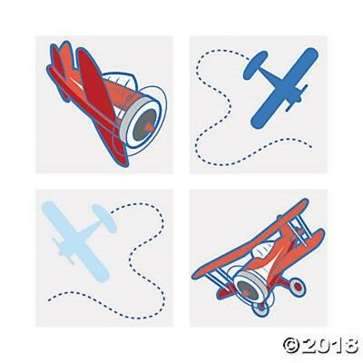 72 Airplane Temporary Tattoos Kids Birthday Party Favors Gifts Treats