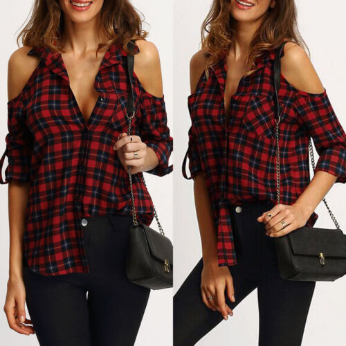 Women's Checkered Plaid Blouse Off Shoulder Tops Long Sleeve Shirt Casual Blouse