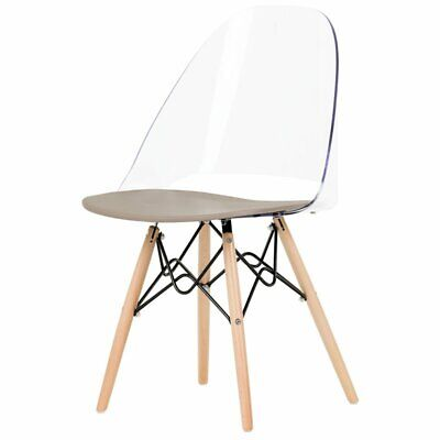 South Shore Annexe Eiffel Style Dining Side Chair in Clear and Gray