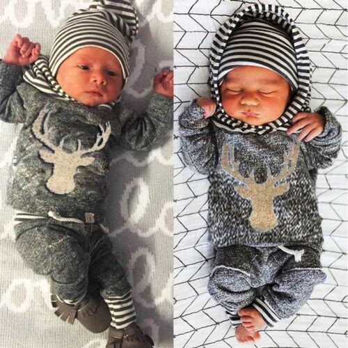 New Newborn Baby Boys Girls Deer Hooded Tops Sweatshirt Long Pants Outfits Set